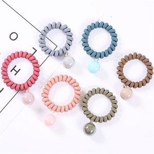 6 renk Telefon Tel Kordon Sakız saç kravat Kızlar Elastik saç bandı Halka Halat Sevimli top kolye saç halat accessiones