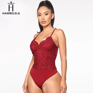 Party Club Streetwear HAMBELELA V Neck Bodysuit Mulheres Sexy Bodysuit mangas Bodycon Jumpsuit Moda 2020 Verão