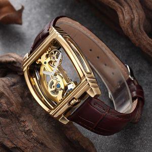 Transparente Mens Automatic relógios mecânicos de pulso Couro Strap Top Steampunk Auto Winding Relógio Masculino montre homme