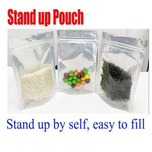 Çok Fonksiyonlu Siyah Şeffaf Açılıburabilen Mylar Çanta Gıda Ambalaj Stand Up Kılıfı Plastik Zip Kilit Çanta Koku Proof Mylar Çanta için Kuru Herb