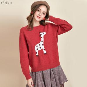 Artka otoño invierno 2019 nuevo de las mujeres del suéter del animal linda del O-cuello jersey suéter de manga larga floja ocasional de punto YB11390Q