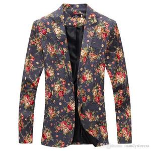 Vente en gros - Mens Royal Red Floral Blazer Slim Fitted Partie Party Single Blazers Breasted Hommes Un Bouton Costume Veste Costumes De Scène Pour Chanteurs