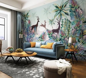 Custom Wallpaper 3D Tropical Forest landscape coconut tree elk TV couch background wall living room bedroom mural 3d wallpaper