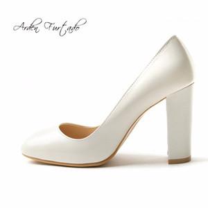 Arden Furtado 2018 primavera outono de salto alto mulheres de couro genuíno escritório senhora vestido sapatos slip-on casco saltos dedo do pé quadrado mulher