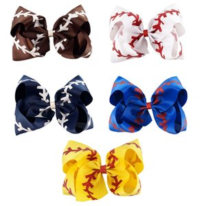 10 unidades / lote Jumbo Softball Bow Glitter Baseball Bow Com rabo de cavalo titular Cheerleading arcos para Cute Girl Cheerleader Sports