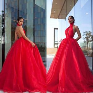 Red Backless Dreses Prom lunghi sexy con tasca Halter di Tulle del Organza di lunghezza del pavimento dei vestiti da sera convenzionale più Size