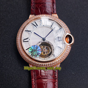 Top version 42mm W6920001 Real Tourbillon Automatic White Dial Sapphire Mens Watch 18K Rose Gold Diamond Case Leather Sport Designer Watches