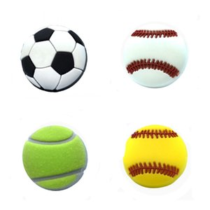 1Pcs Sports PVC Shoe Charms Shoe Accessories Decor Football Softball Shoe Buckles Fit Bracelets With Holes Children Party Gift