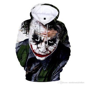 Mens Autumn Hooded Hoodie Joker Clown 3D Printed Hoodies Mens Clothing Teenager Boy Hooded Designer Sweatshirts Tops