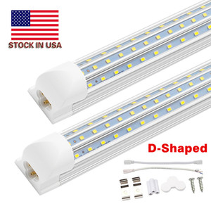 D-şekilli V-şekilli 4ft 5ft 6ft 8ft Soğutucu Kapı LED Tüpler T8 Entegre LED Tüpler Üçlü Sıra LED Işıklar 100-305V stok ABD'de