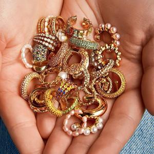 Pearl Клип на серьги Earcuffs для женщин Золотого цвета C Shaped стекируемого CZ Ear Cuff Нет прокололи партии Свадебных украшений 2020