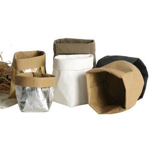 Складная Крафт бумажный мешок водонепроницаемый бумаги Kraft Flowerpot Экологичный Sundries Организатор мешок Цветок Суккуленты Крафт бумажный мешок