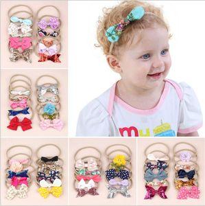 Bebê recém-nascido Headbands Meninas Floral Dot Headwear Arco Elastic Nylon Hairband Turbante Cabeça Da Orelha de Coelho Envoltório Acessórios Da Banda Do Cabelo Da Forma LT381