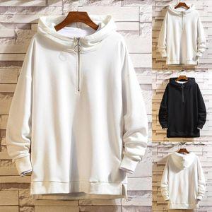 Hip Hop Schwarz Hoodies Men Casual Moletom Frühlings-Herbst-Sweatshirt Solid Color Outwear Mantel BaumwollHoodie Herren Camisas Hombre