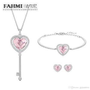 Fahmi swa Moda Kalp saplama Küpe Bileklik Anahtar Uzun Kolye Seti Romantik Sevgililer Günü Hediye Öneri 5225370 Nişanlı