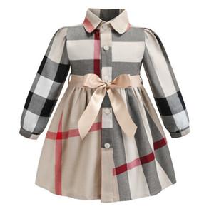 Revers Langarm Mädchen Kleid 2019 INS Frühjahr neue Stile europäischen und amerikanischen Stilen Mädchen hochwertige Baumwolle großen Karo-Kleid