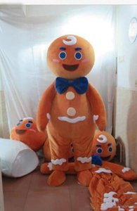 Personnalisé professionnel Gingerbread Man Costume De Mascotte de Bande Dessinée Gingerbread Boy Caractère Vêtements Halloween Festival Party Fantaisie Robe