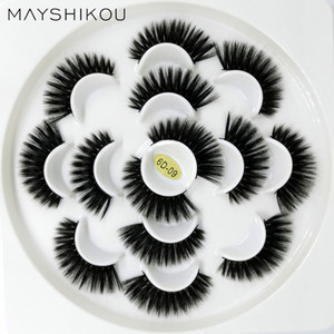 Mayshikou 6d 7 coppie ciglia finte morbide faux visone capelli lunghi naturali / spessi stile wispy ciglia fatta a mano full strip strip ciglia