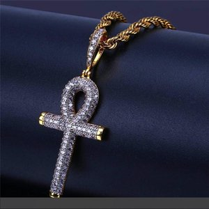 Hiphop Egyptian Angel Key Pendant Necklaces For Men Luxury Zircon Gold Plated Necklace Brand Hip Hop Jewelry Wholesale