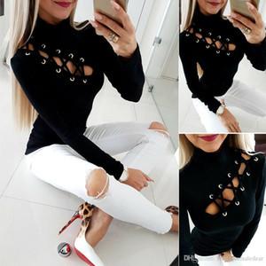 Mulher designer camisetas cor sólida Outono e Inverno Casual Sexy Magro Manga comprida alta Neck camisetas Womens Moda Tees