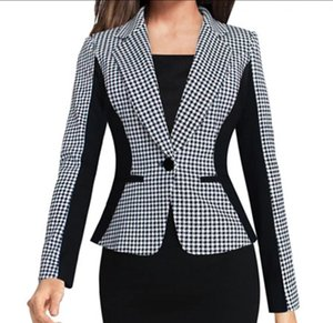 2020New Arrival Women Long Sleeve Notched Style Blazer Suits Office Casual Plaid Color Clothing Female Blazer Single Breasted