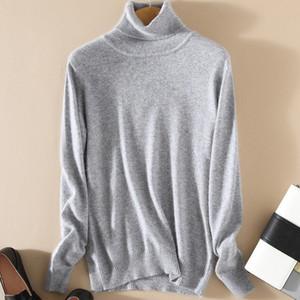 TONFUR tricot à col roulé Automne Hiver Pull Femmes, match de base solide mélange cachemire Femme Col roulé overs Y200116