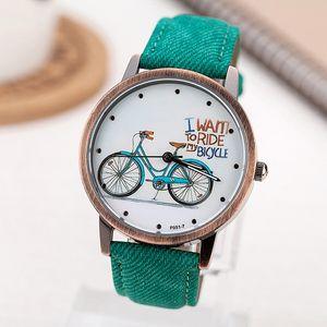 2017 Marca de Moda Relojes de Cuarzo Patrón de Bicicletas Reloj de Dibujos Animados Mujeres Casual Vintage de Cuero Niñas Niños Relojes Regalos Reloj T190619