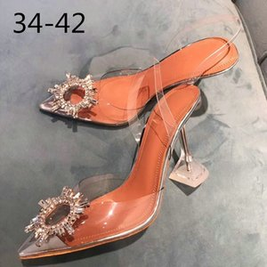 PVC Transparent Crystal Shoes 2019 Summer New Pointed Odd Heel Shoes Stiletto Ladies Sun Decoration Wild Fairy Shoes CJ191128