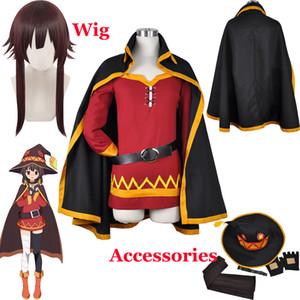 Bênção de KonoSuba Deus neste mundo maravilhoso Megumin Manto Vestido Uniforme Halloween Outfit Anime Megumin peruca cosplay + Cap Wig