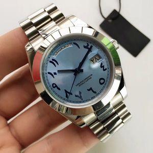 часы мужские 40мм DayDate Древние араб автоматические механические часы Батарея не подметать движения из нержавеющей стали часы 18K 02
