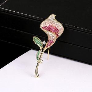 Оптовая Mirco проложить CZ Циркон булавки и броши для женщин Тюльпан розовый горный хрусталь цветок брошь корейский Моды костюм платье ювелирные изделия