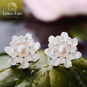 Lotus Fun réel Argent 925 perles naturelles Creative main haute joaillerie vintage Blooming Lotus Boucles d'oreilles pour les femmes CJ191205