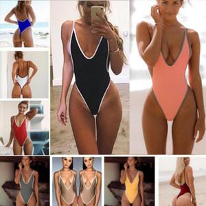 Çok renkli Tek parça Backless Yaz Yeni Kadınlar Bikini Derin V yaka Seksi Avrupa Ve Amerikalı Slim Fit mayoları