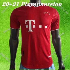 2020 2021 집 Player 버전 MULLER 홈 축구 유니폼 (20) (21) 뮌헨 축구 셔츠 레 완도 우 스키 축구 유니폼을 빨간색