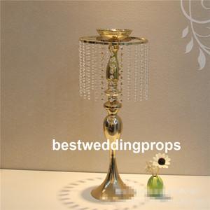 نمط جديد الذهب كريستال طويل القامة زهرة حامل المزهريات المركزية لجدول الزفاف best0834