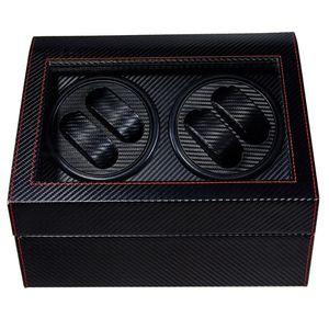 4 + 6 gama alta automática Watch Winder BoxWatches de almacenamiento de soporte exhibición de la joyería de cuero PU Caja de reloj ultra silencioso motor caja de la coctelera