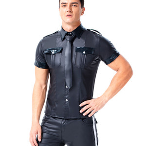Sexy T-shirts Men PU Leather Short Sleeve T Shirt Sexy Black Faux Leather Shirt Wet Look Undershirt Sissy Party Clubwear Gay Costume Shirts