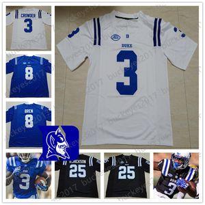 NCAA Duke Blue Devils Футбол Мужчины молодежи Kid черный белый Джерси # 3 TJ Rahming 18 Quentin Harris 22 Бриттен Браун 25 Деон Джексон