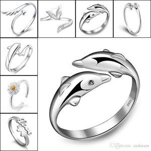 925 Gümüş yüzükler Kristal Taç Yunuslar Dragonfly Melek Kanat Fox Kalp Sonsuza Aşk Ayarlanabilir Parmak Yüzük Kadınlar Düğün Takı Bırak Gemi