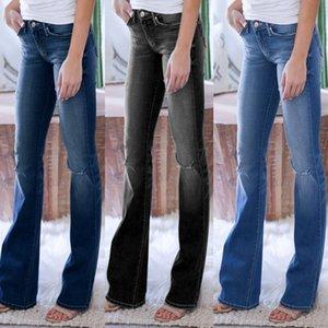 Mujeres de fábrica popular directa vaqueros slim Micro Horn Jeans para mujer Pantalones