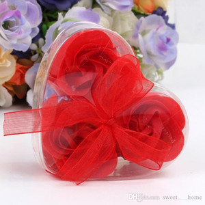 3pcs Box Packed Heart Shape Handmade Rose Soap Petal Simulation Flower Paper Flower Soap (3pcs=1box) Valentines Day Birthday Party Gifts