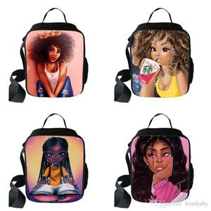 Lady One-Shoulder Bag Lunch 67 Cartoon-Charakter Afrika Multi-Funktions-Lady mit hohen Kapazität One-Schultern Rucksäcke Kinder Mittagessen Taschen 07