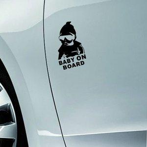14 * 9 CM BABY ON BOARD Serin Arka Yansıtıcı Güneş Gözlüğü Çocuk Araba Çıkartmaları Uyarı Çıkartmaları Siyah / Gümüş CT-465
