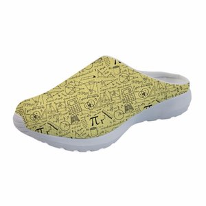 Customized Summer Flats Sandals for Men Casual 3D Math Pattern Men's Breathable Mesh House Sandals Beach Water Shoes Slippers