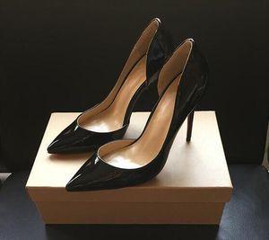 Box Duplo Clássico cor da costura boca rasa de fundo saltos altos de couro de patente Toe Pointy Sapatos de luxo Red sapatos de casamento