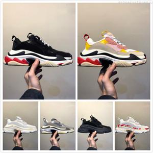 2019 Moda París Zapatos casuales Zapatos de lujo 17FW Triple-S Papá para hombre Mujer Beige Negro Ceahp Sports Designer Triple S Shoes Tamaño 36-45