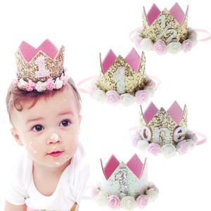 여자 아기 첫 생일 장식 꽃 파티 모자 크라운 머리띠 1 2 3 년 번호 Priness 스타일 생일 모자 아기 헤어 액세서리