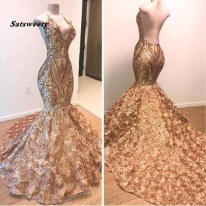 2020 Africano ouro Prom Dresses Sereia Halter V Neck 3D Flores mangas Vestido Longo árabe Dubai Partido Vestidos