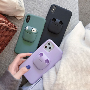 Liquid Silicone Phone Case For iPhones 11 11 Pro Max XR XS Max 6 6S 7 8 Plus 2 in 1 For AirPods Cover With Earphone Storage Box
