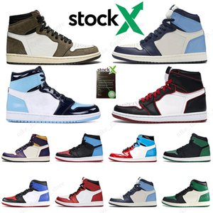 Nike Air Jordan retro 1  Stock X 1 High Travis Scott cactus jack Low Fearless Obsidian Mens Basketball shoes Spiderman 1s Chicago Banned Bred Toe Men Sports Designer Sneakers